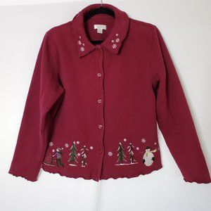Christopher & Banks Snowman Sweatshirt Jacket Sz M